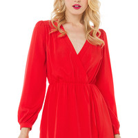 Tulip Hem Bright Red Mini Dress