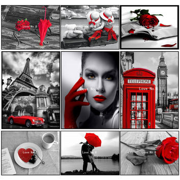 24 Red and black series Diy square full Diamond Painting 3D cross stitch diamond mosaic embroidery canvas home decor painting