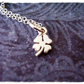 Tiny Silver Four Leaf Clover Necklace - Sterling Silver Four Leaf Clover Charm on a Delicate 18 Inch Sterling Silver Cable Chain