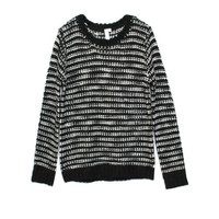 shae winter white black marl sweater