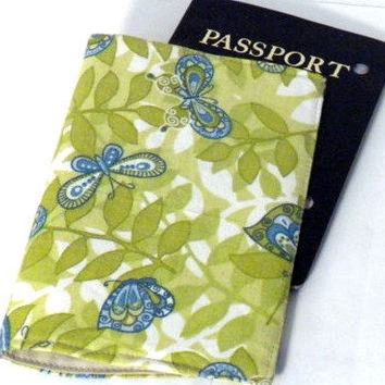 Butterfly Passport Case Green butterfly by redmorningstudios