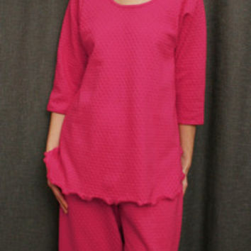 Hot Pink 3/4 Sleeve Top & Palazzos Cotton Dot, Made In The USA   Simple Pleasures, Inc.