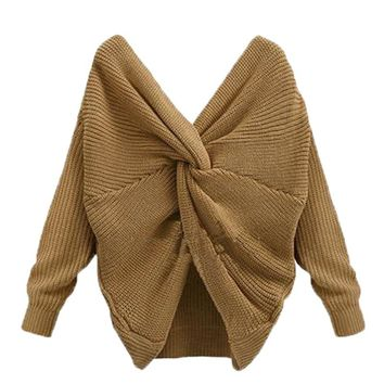 Fashion Sexy Tie Back Women Sweater Knitted Pullover Tops Fashion Female Autumn Winter Costume Women Autumn Clothes