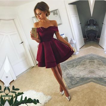 Burgundy Off Shoulder Short Sleeve Homecoming Dresses