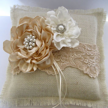 Ring Bearer Pillow Ivory Burlap and Champaign Lace with Champaign and Ivory Flowers and  Pearl and Rhinestone Accents Custom Order