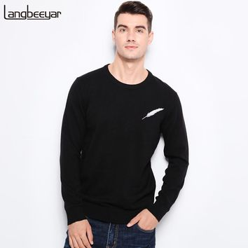Winter Clothing Men Knitted Sweater Feather Pattern Slim Fit Pullover Men Cotton Sweaters For Men
