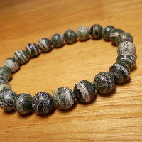 Green Zebra Jasper Bracelet - Mens Bracelet, Green Jasper Jewelry, Green Bracelet, Gift for Boyfriend, Men Gift Ideas, Men Elastic Bracelet