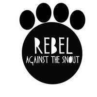 "Dog sticker - 'rebel against the snout' decal perfect for flat face dog owners - premium finishes - 5"" cutout paw decal"