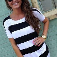 Thick Black & White Striped Piko | The Rage