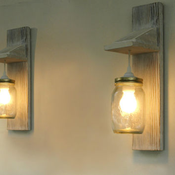 Pair of Wall lamp, Reclaimed wood wall sconce, Mason Jar lighting