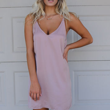 East Coast Satin Mauve Cami Dress