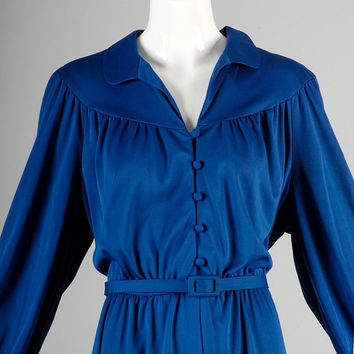 ON SALE Vintage 70s Royal Blue Secretary Dress Midi Length Business Casual Belted Button Up Long Sleeve XL Xxl