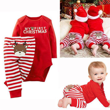 Free New Xmas Newborn Baby Boys Girls Cotton Cartoon Cute Reindeer Long Sleeve Bodysuit+Red Striped Pants Clothes Outfits Set