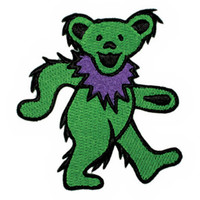 Grateful Dead Iron-On Patch Dancing Bear Green