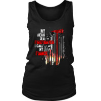 Women's Thin Red Line American Flag Firefighter Fiance Tank Top