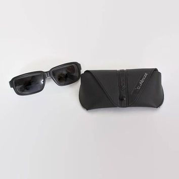 Vintage 90s Genuine VERSACE SUNGLASSES / 1990s Sleek Matte Black  Logo Sunnies
