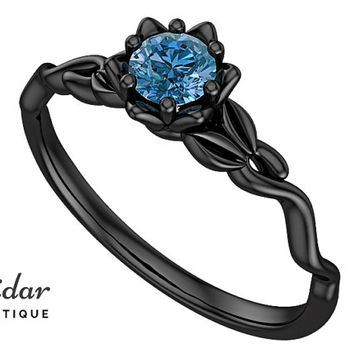 Flower Engagement Ring,Unique Engagement Ring,diamond Engagement Ring,Leaves,Blue Diamond Engagement Ring,floral,swirl,Black gold Ring