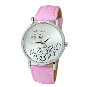 """""""Who Cares I'm Late Anyways"""" Women's Pink Creative Letter Fashion Faux Leather Quartz Watch"""