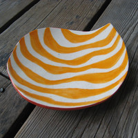 Groovy Ceramic Plate - Orange and White Stripes - Ceramics and Pottery