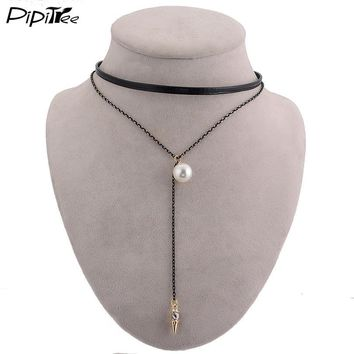 Pipitree Fashion Gothic Layer Choker Necklace for Women Long Chain Necklaces with Simulated Pearl Pendant Faxu Leather Chocker