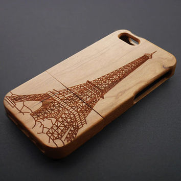 Buy 1 Get 1 Free - Eiffel Tower Wood iPhone 5 / 5S Case -  Wood iPhone 5S Case - Custom iPhone5 Case Wood , Personalized  iPhone 5 Case Wood