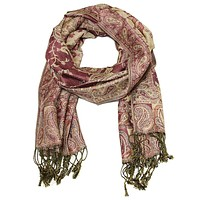 Elegant and Intricate Paisley Pashmina Wrap Muddled Berry