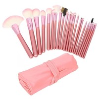 niceEshop Professional Cosmetic Makeup Brush Set With Storage Bag (22pcs ,Pink)
