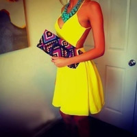 Yellow Suspenders Sleeveless V-neck Halter Dress