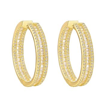 Baguette Hoop 14k Yellow Gold Finish Sterling Silver