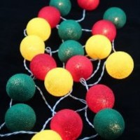 Reggae Green Yellow Red Set Cotton Ball String Lights Fairy Party Decor Wedding Bedroom Garden Spa and Holiday Lighting