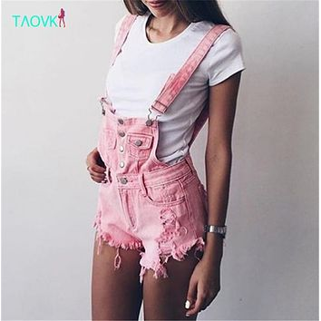 TAOVK Summer Women Cowboy shorts Ripped Suspenders jeans