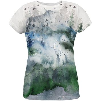 Watercolor Deer in the Mist All Over Womens T Shirt