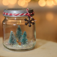 Snow globe glass jar tiny miniature Winter Christmas decor minimalist rustic retro vintage reindeer bottle brush trees gift for her dorm roo