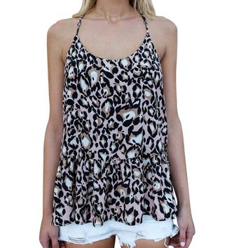 Leopard Print Top Sleeveless Multi color T-shirt camisole