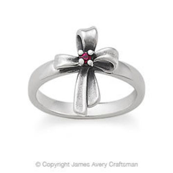 Delicate Ribbon Cross Ring with Ruby from James Avery