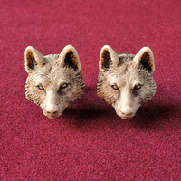 Wolf MAN Cufflinks - Victorian synthetic ivory hand made cuff links