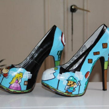 Mario & luigi paper game shoes heels custom handpainted Made to order