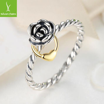 925 Sterling Silver Flower Rings Compatible With European Fit Original Pandora Engagement Brand Ring S925 Jewelry Present