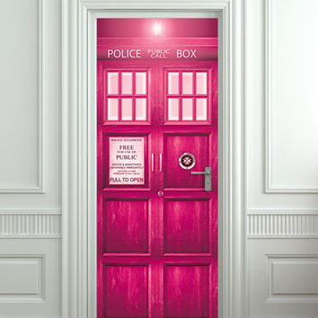 Crazy stuff! Door STICKER PINK Police box movie magical mural decole film self-adhesive poster 30x79in (77x200 cm)