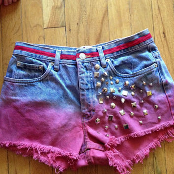 Womens Tommy Hilfiger high waisted Distressed Studs red Ombre Denim Jean Shorts Sz 6