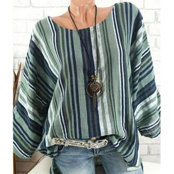 Plus Size Blouses Tunic Tops Stripe Printed Cotton Linen Shirt SIZE:: 6 - 20