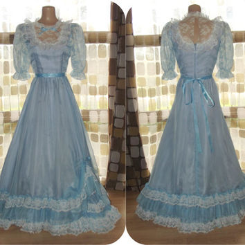Vintage 70s Cinderella Blue Chiffon Southern Belle Ball Gown Formal Bridesmaid Princess Dress Phyllis Gerrans Sz Small