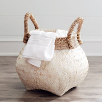 Julianna White & Natural Wicker Basket