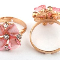 3 Pieces of Ladies Gold with Pink Heart Shaped Petal Flower Style Metal Adjustable Ring