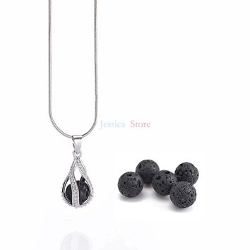1Pc 8mm Lava Stone Diffuser Hollow Locket Necklaces Bracelets Bangles For Essential Oil Necklace Gift