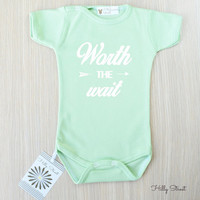 Worth The Wait Baby Bodysuit. Infant Baby Clothes. Baby Bodysuit. Cute Baby Clothing. Unique Baby Shower Gift. Baby Girl Clothes