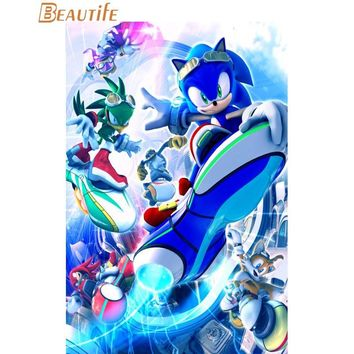 New Sonic the Hedgehog Poster Cloth Silk Poster Home Decoration Art Fabric Poster Print 30X45cm,40X60cm.50X75cm,60X90cm