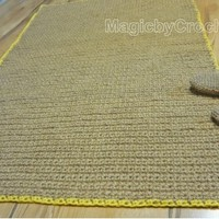 Reversible Rustic Jute Rope Rug / 6 x 4 ft Rectangular Carpet, Handmade