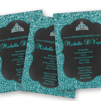 Beautiful Turquoise Tiara Sweet 16 Invitation - Princess Chalk Birthday Invitations - Teen Girl - Faux Glitter - Blue Sweet 15 - Quinceanera
