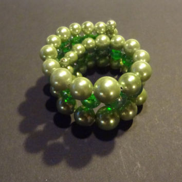 Vintage Wrap Bracelet with Graduated Dark and Light Green Faux Pearls/Opalescent Beads - 3 Strand Memory Wire Bracelet